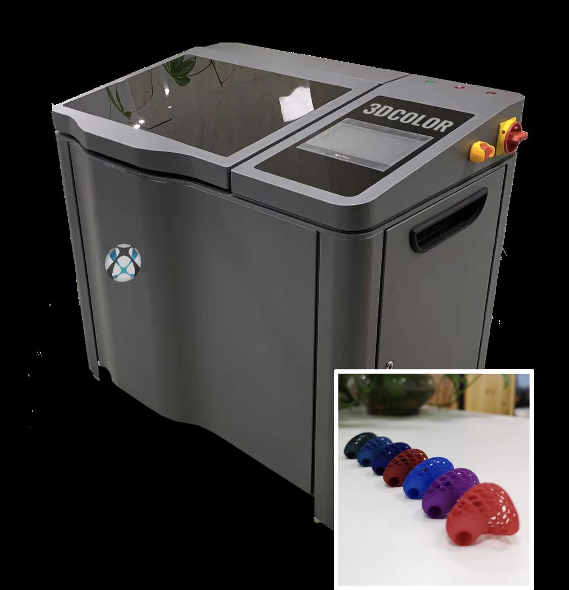 Système de coloration de pièces PA imprimées en 3D en SLS et MJF