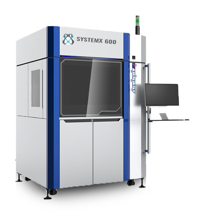 L'imprimante 3D SLA SystemX-600 est conçue pour imprimer avec une haute précision, idéale pour produire des pièces complexes avec un état de surface lisse.
