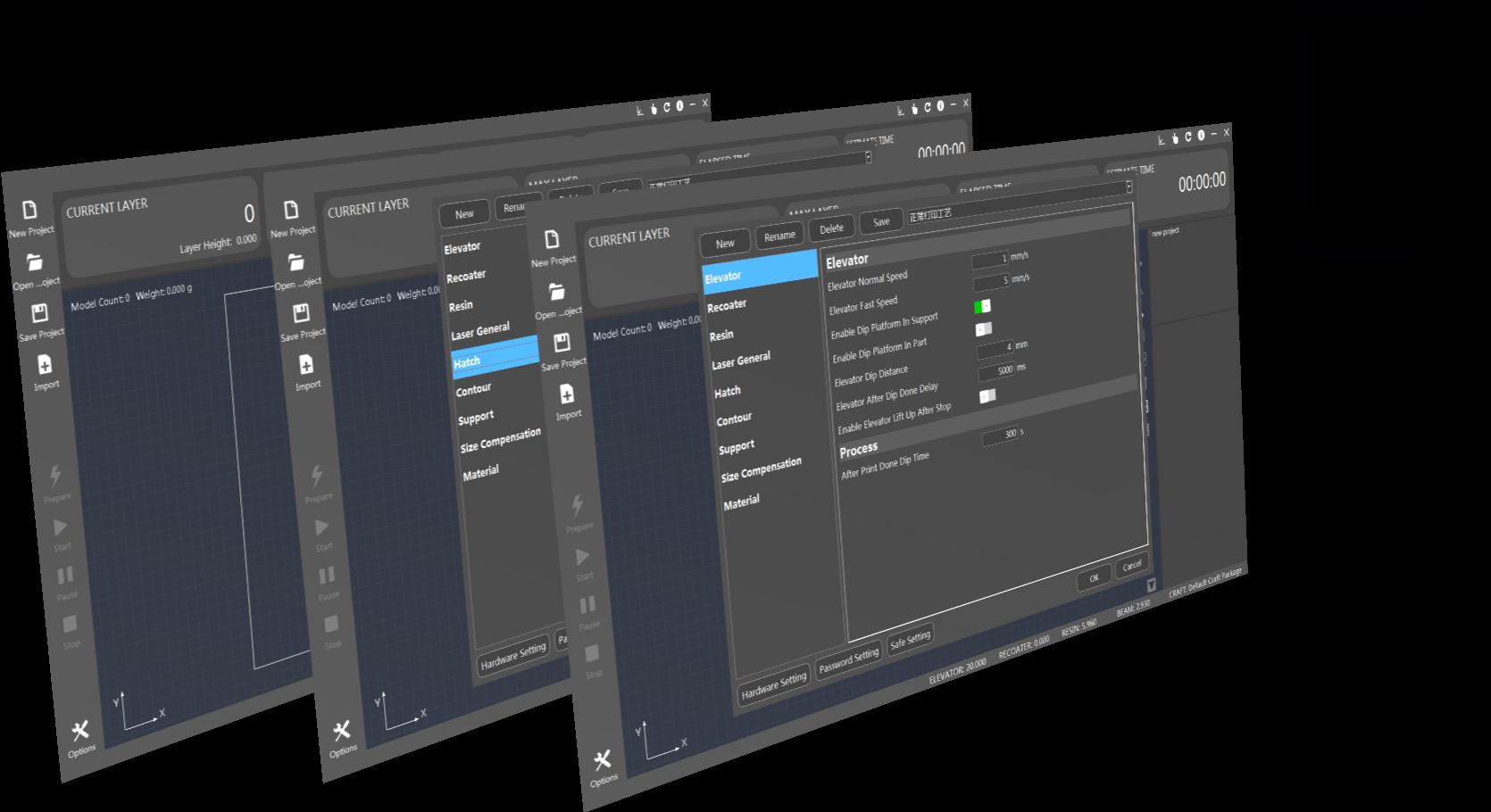 Interface opérateur pour imprimante 3D SLA SystemX